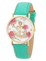 Flower Pattern Pu Strap Women Dress Watch(Green)
