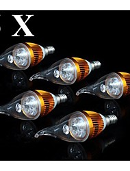 5pcs 3W E14 250-300LM 6000-6500K Cool White Color LED Candle Style Candle Bulb (110V)