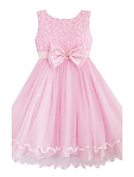 Girl's Pink Rose Flower Bow Tulle Party Wedding Pageant Princess Kids Clothing Dresses