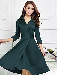 Women's Elegant Slim Princess Green Plus Size Dress