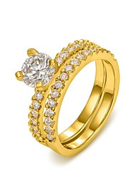 Classic 18K Yellow/White Gold Plated Four Prongs 1Ct CZ Wedding Simulated Diamond Rings For Women