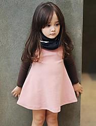 moda vestido de la princesa de la manga larga de chica dulce cuello redondo