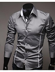 Manlodi Men's Strips Decoration  Slim-Fitting Shirt