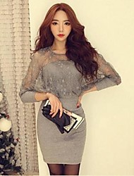 Women's  Sexy  Round Collar Long Sleeve Slim Fitting   Dress
