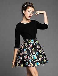 Women's Three Quarter Sleeve Printing Bubble Dresses