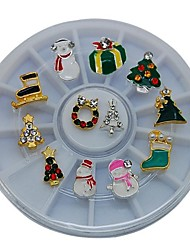 12PCS  Mix X-mas Styles 6CM Wheel Nail Art Decoration