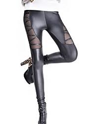 Fashion PU leggings granatina sesso delle donne