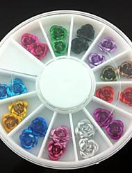 24pcs decorações de arte colorido de metal flor de unhas