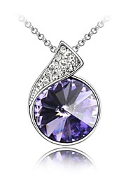 Name of Love Best Seller Short Necklace Plated With 18K True Platinum Tanzanite Crystallized Austrian Crystal Rhinestone