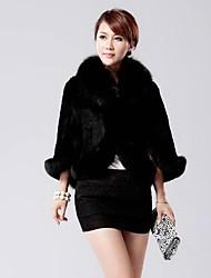 XT Women's Sleeveless Slim Temperament Elegance Fox Fur Collar Overcoats
