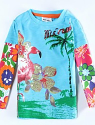 Girl's T shirt Round Collar Exquisite Flowers Sequin Printed Long Sleeve Antumn Winter Kids Tees Random Print