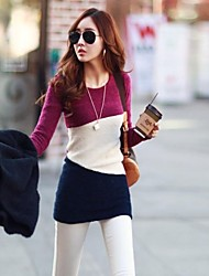 Women's Casual/Daily Dress,Color Block Mini Long Sleeve Gray / Purple Spring / Summer / Fall / Winter
