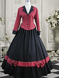 Long Sleeve Floor-length Red and Black Cotton Gothic Lolita Dress