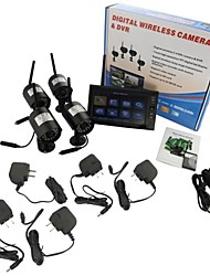 "7"" LCD Wireless  Monitor 4 Channel Quad Security System DVR With 4 Cameras"