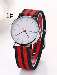 Women's Big Disk Dial Secondary Colours Oxford Fabric  Watch(Assorted Colors) C&D-165