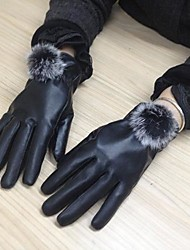 vrouwen winter warme pu leer met bont ballen handschoenen