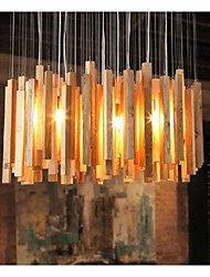 bar en bois moderne pendentif 4-lumière de lumière
