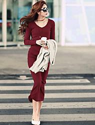 vestido de manga larga de color sólido de las mujeres equipada qsh