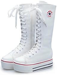DamenLässig-Leinwand-Keilabsatz-Modische Stiefel-Schwarz Weiß