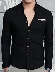 Men's Solid Casual / Work / Formal Shirt,Cotton / Linen Long Sleeve