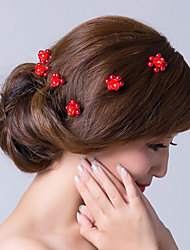 Red Flowers with Immitation Pearls Contact Pin Wedding Headpiece-Set of 6