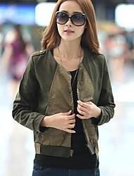 Women's Black/Green Jackets , Casual Long Sleeve