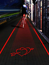 UNGROL An Arrow Through A Heart Pattern 5 LED 4 Flash Mode White+Red Bike Projection Laser Taillight