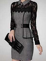 Women's Dress,Color Block Midi Long Sleeve Gray Fall / Winter