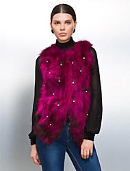 chaleco de piel con un bonito sin mangas sin cuello de piel de mapache partido / chaleco ocasional (más colores)