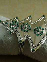 Crystal Snowflake Christmas Tree Napkin Ring Many Colors, Acrylic, 4.5CM, Set of 12