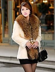 abrigo de piel de manga larga de la moda abrigo de pieles de las mujeres (más colores)