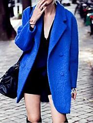 Frauen royalblau Revers Wollzweireiher Wintermantel