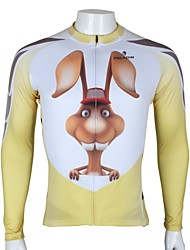 PaladinSport Men's  Summer and Autumn Style 100% Polyester 3D Rabbit White Long Sleeved Cycling Jersey
