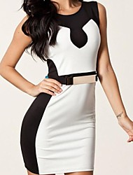 blanco empalme con cinturón vestido bodycon negro de las mujeres