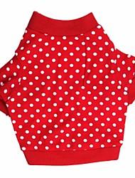 Chat / Chien T-shirt Rouge Vêtements pour Chien Printemps/Automne Pois