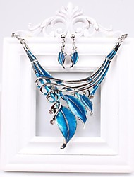 Women's Fashion Europe Rhinestone Leaves Jewelry Set(Including Necklaces Earrings)