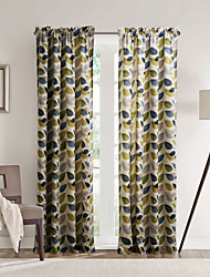 Philips Young - Two Panels Contemporary Minimalist Multi Color Leaves Curtains Drapes