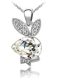 colar curto menino coelho da senhora revestida com 18k platina verdade clara cristalizada strass cristal austríaco