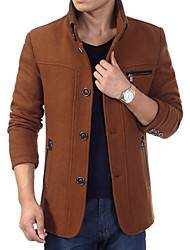 Men's Fashion Stand Collar Long Sleeve Tweed Coat