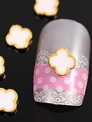 10шт белый переход логотип с золотой аркой линии сплава украшения искусства ногтя