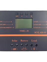 """2.4 """"60a 12v lcd / 24v panneau photovoltaïque contrôleur solaire de charge de la batterie canton de - noir"""
