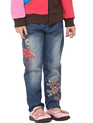 Girl's Denim Pants Blue Polka Dots Flowers Embroidery Kids Antumn Winter Pants Random Print