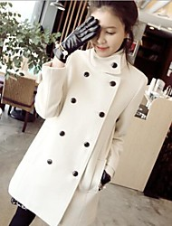 Women's High Collar Double Breasted White Coat