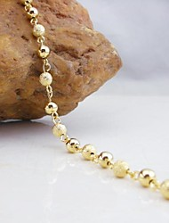 18K Golden Plated Beads Bracelet 17.5cm Christmas Gifts