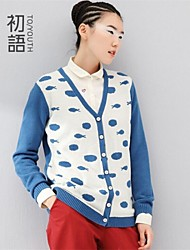 Women's Blue/Green Cardigan , Casual Long Sleeve