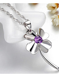 Weimei Women's Elegant Diamonade Clover Silver Necklace