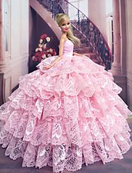 Barbie Doll Candy Girl Light Pink Lace Princess Dress