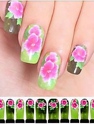 12PCS Pink Flower Green Watermark Nail Art Stickers C6-010