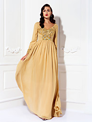 A-line Plus Size / Petite Mother of the Bride Dress Floor-length Long Sleeve Chiffon with Beading / Crystal Detailing / Ruching / Sequins
