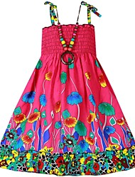 Girl's Dress+Necklace Flower Print Party Bohemia Beach Kids Clothing